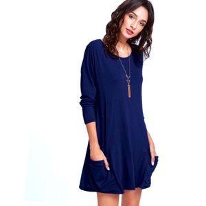 Long Sleeve Pocket Midi Dress